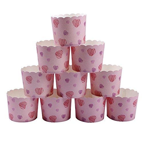 Webake 25 Stück- Set Muffin Papierförmchen in Rosa mit lila und roten Herzen für Muffin Bronnie Cupcake (Backformen-set Lila)