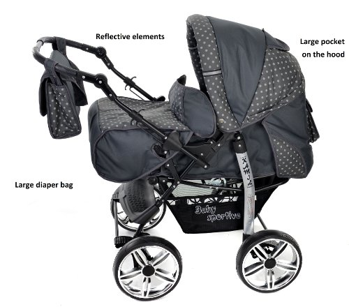 Baby Sportive - Sistema de viaje 3 en 1, silla de paseo, carrito con capazo y silla de coche, RUEDAS ESTÁTICAS y accesorios, color gris, lunares