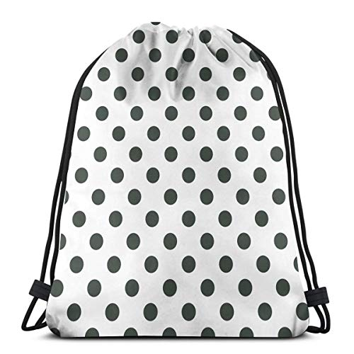 Jiger Drawstring Tote Bag Gym Bags Storage Backpack, Nostalgic Polka Dots Pattern with Large Round Circles Minimalist Modern Art Print,Very Strong Premium Quality Gym Bag for Adults & Children -