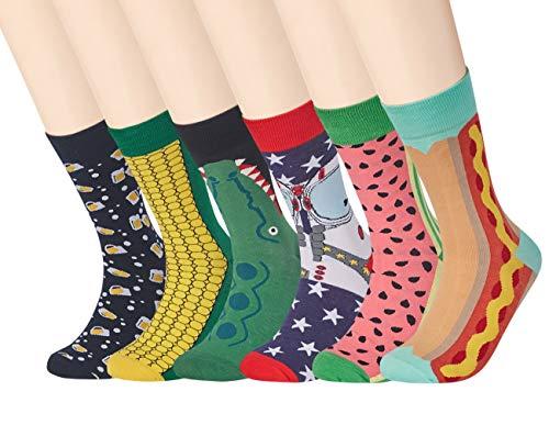 RedMaple 6 Paar Herren Bunt Gemusterte Socken - Gekämmte Baumwolle Neuheit Sneaker Crew Socken Größe 39-46 (Einheitsgröße, Serie F(EU 39-46)) (Farbe Kleid Socken Herren)