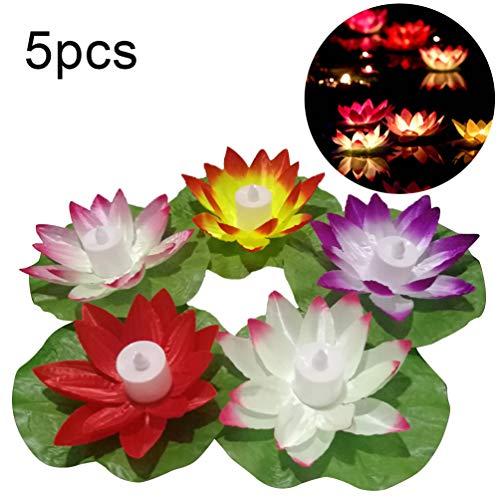 Lin-Tong. Lotus Light, Dekoratives 5 Stück Nachtlicht mit Knopfakku für den Urlaub an Besonderen Tagen