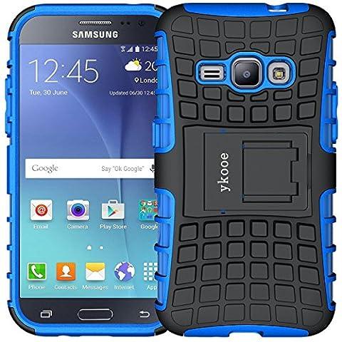 Galaxy J1 Hülle (2016), ykooe (TPU Series) Samsung Galaxy j1 Hybrid Handyhülle Drop Resistance Handys Schutz Hülle mit Ständer für Samsung galaxy J1 (nicht für das Galaxy J1 - J100H von 2015) Blau