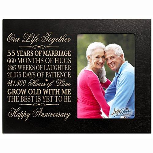 55. Jahr Hochzeit Jahrestag Geschenk für Paar Individuelle Gravur 55. Hochzeitstag Rahmen hält 14x 6Foto 20,3cm H x 25,4cm W, Ahorn, schwarz, 10 inches wide x 8 inches high 1/2 inches thick
