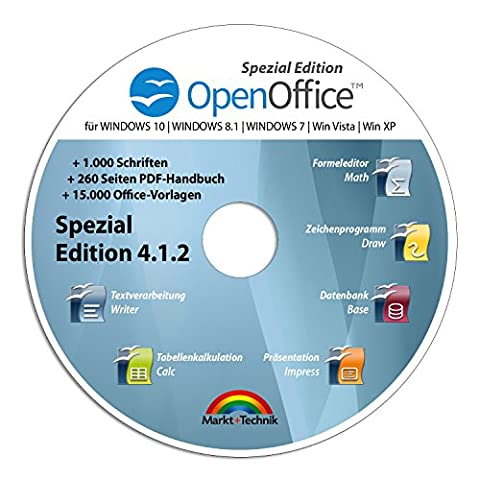 Open Office Spezial-Edition für Windows 10-8-7-Vista-XP | PC-Software mit 15.000