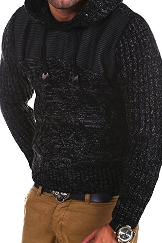 Carisma Strick Hoodie mit Lederimitat Pullover 7201 Schwarz