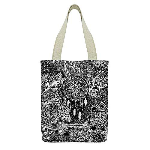 Bolso de mano de lona Cute Sloth Flower Print Grocery Bolso Casual School Shoulder Bag para mujeres niñas,Moderno blanco negro sueño atrapasueños floral estampado