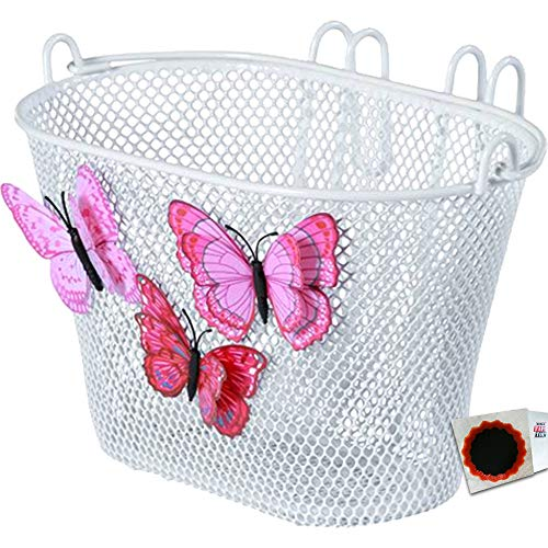 Basil Kinder Korb Jasmin Butterfly engmaschig weiß Fahrradkorb + SCHLAUCHFLICKEN