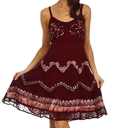 Sakkas 414031 Jolie Batik gestickte verstellbare Spaghetti Strap Kleid - Schokolade / Sahne - S / M (Tee-kleid Viktorianische)