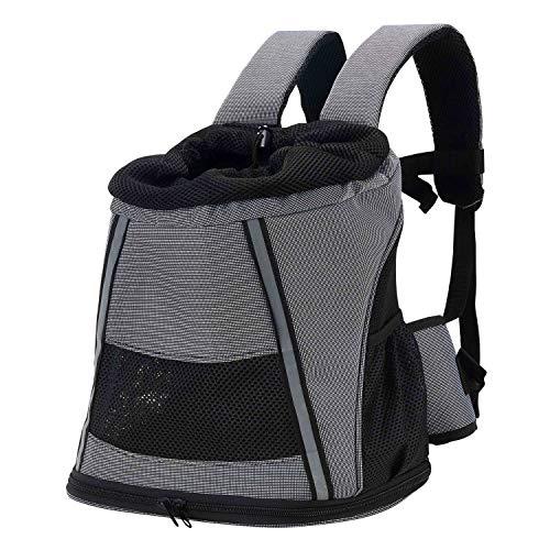 Louvra Hunderucksack Hundetragetasche Verstellbar Katzetasche Oxford Grau für Reisen Wandern Picknick