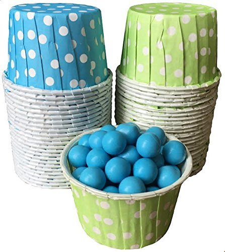 Outside the Box Papers Polka Dot Candy Nut Cups Lime Green, Blue, White by Outside the Box Papers