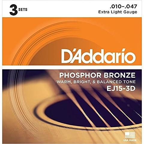 D'Addario EJ15 Phosphor Bronze XL 3D (3 Sets)