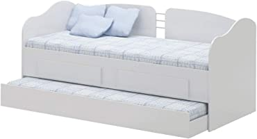 Ditalia Wooden Twin Trundle Bed, White, 84.3x84.8x193cm - CM-08