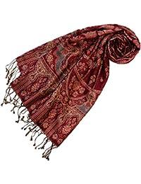 LORENZO CANA - Pashmina aus 60 % Seide und 40 % Wolle, braun bronze blau mit Paisley Muster 200 x 70 cm Damen Schal - 78044