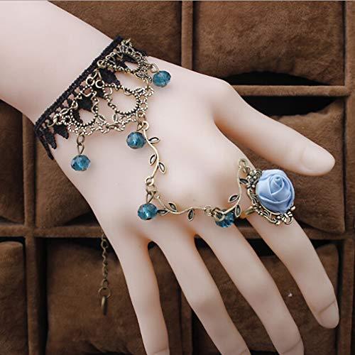 kemai Lace Slave Armband mit Ring Retro Frauen Dame Mädchen Spitze Kette Armband Armband Gotik Modeschmuck, blau