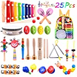 TUPARKA 26 Pcs Baby Musical Instruments Set Toddler Percussion Instrument Toy Wooden Xylophone