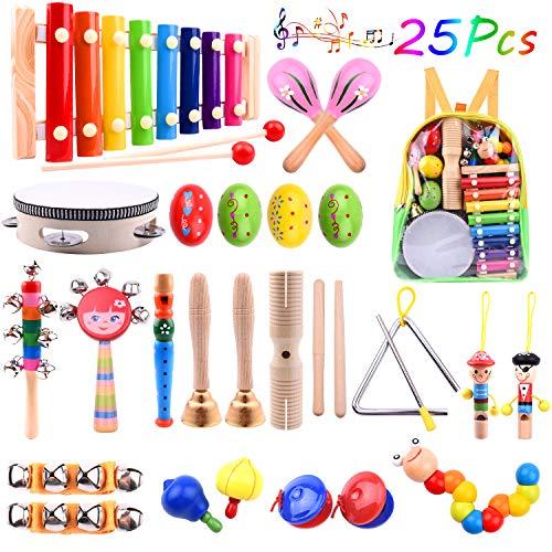 TUPARKA 26 Stücke Baby Musikinstrumente Set Kleinkind Schlaginstrumente Spielzeug Holz Xylophon Glockenspiel Spielzeug für Kinder Rhythmus Band Set Mädchen Jungen Geschenk mit Rucksack