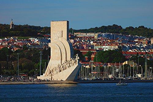 Artland Qualitätsbilder I Alu Dibond Bilder Alu Art 90 x 60 cm Architektur Gebäude Sehenswürdigkeiten Foto Natur C7SJ Seefahrer Denkmal am Tejo
