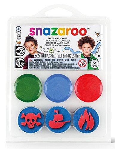 Snazaroo Schminkfarben Set 'Piraten'(engl.) , Schminkpalette mit 3 Stempel, 3 Farben