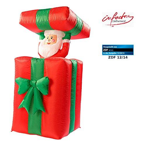 mann: Selbstaufblasender XXL Santa im Geschenk, 150 cm, animiert (Aufblasbarer Weihnachtsmann) (Schneemann Aufblasbar)