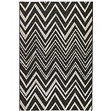 Sisal-Look Flachgewebe Teppich Lux Chevron - Caramel Beige oder Schwarz Grau in Sisal-Optik | pflegeleicht & strapazierfähig | Wohnzimmer Schlafzimmer, Farbe:Schwarz/Grau, Größe:160 x 230 cm