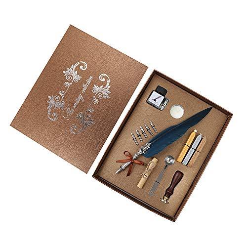 Füller Weinlese-Feder-Federkiel-Dip-Metallfeder-Schreibtinte Kit Schreiben Retro Schreibfeder Tintenflasche Seal Seal Wachs Löffel Ink Set (Color : Blue)