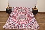 Indian Pink Blau Weiß Urban Floral Outfitters Wandteppich Mandala Überwurf Tagesdecke Gypsy, Boho Queen Doppelbett Doona & 2Kissen Fall Set 100% Baumwolle 233,7x 213,4cm.