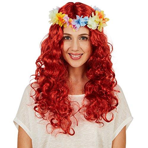TecTake dressforfun Frauenperücke, Locken Hawaii | Mit abnehmbarem Blütenband | Perfekt für Fasching, Straßenumzüge und Mottopartys geeignet