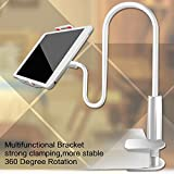 #10: mobile holder for bed and table, mobile holder bed, mobile holder desktop, mobile holder long, mobile holder long arm, phone stand holder for video, phone holders for home, Flexible Long Arm Lazy Bracket Phone Holder Cellphone Stand Clip iPad Stand Tablet Mount, Detachable 4 - 10 Inches 360 Degree Rotating (white)