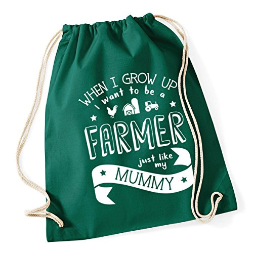 HippoWarehouse When I Grow Up I Want to be a Farmer Just Like My Mummy kids unisex jumper sweatshirt pullover Drawstring Cotton School Gym Kid Bag Sack 37cm x 46cm, 12 litres