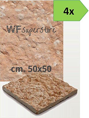 Pavimento in pietra 50x50 rustico - 4 pezzi - mattonella piastrella giardino