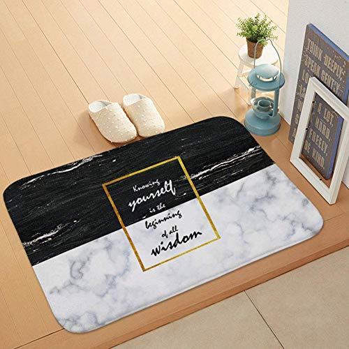 HONGMEIL 40 * 60cm Marmor Hintergrund-Stil Englisch Alphabet Coral Velvet Griffige Säubern Sie schmutzige Fußmatte, Eintrag Mat Heim Teppich -