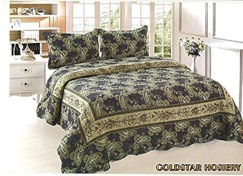 Luxus Baumwolle gesteppt bestickt 3-teiliges Bettwäsche Tröster Bett Set–Doppelbett King Size Tagesdecke + 2Kissenbezüge: Neue Farben, baumwolle, blau, (3-teiliges Set Bett)