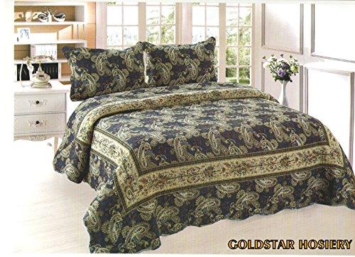 Luxus Baumwolle gesteppt bestickt 3-teiliges Bettwäsche Tröster Bett Set–Doppelbett King Size Tagesdecke + 2Kissenbezüge: Neue Farben, baumwolle, blau, Double/King