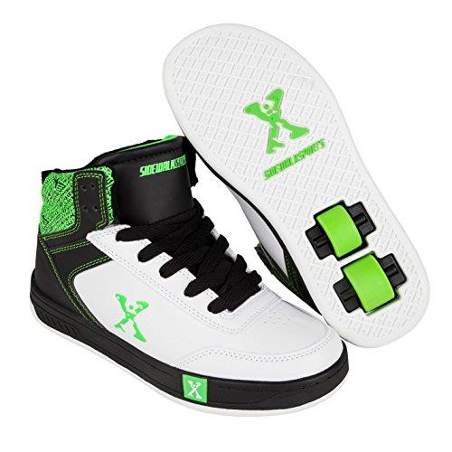Sidewalk Sport Kinder Jungen Hi Top Heelys Turnschuhe Rollenschuhe Sneaker mit Rollen Weiß/Schwarz/Grün 5 (38) - Tennis-schuhe Mit Rollen
