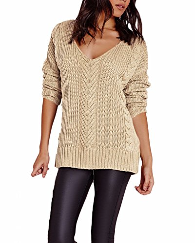 Auxo Donna Maglione Manica Lunga Hollow Collo V Trecce Autunno Pullover Maglia jumper Beige IT 36-42/ASIAN One size fits all
