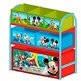 Delta Children's Products Multi Toy Organizer MICKEY MOUSE mit 6 Fächern und Metallgestell Aufbewahrungsboxen Spielzeugregal