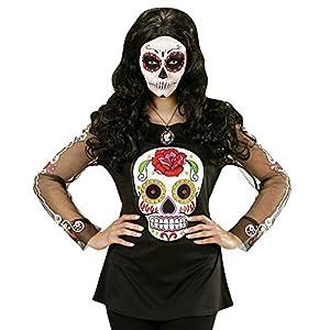 WIDMANN Camiseta mujer colorido esqueleto Día de los Muertos - One Size
