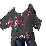 Damen Blusen Bandage Langarmshirts Mode Frauen Übergröße Bluse Trägerlosen O-Ausschnitt Top Blümchen T-Shirt mit 1/2 Ärmel Oberseiten,ABsoar
