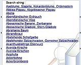 Pflanzen-Liste (14500 Bezeichnungen) deutscher Name - botanischer Name