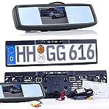 Drahtlose Funk EU Nummernschildhalter Rückfahrkamera mit Hilfslinien und FARB Spiegel Monitor - LED Nachtsicht für PKW Auto, Kleine Bus - Rear View Camera