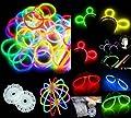 100 Knicklichter, Glow Sticks, Leuchtsticks+5 Leuchtbrille+5 Leucht Haarreifen+100Konnektoren+Kreisverbinder von Multila - Lampenhans.de