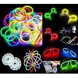"""100 8"""" Glow Stick Bracelets,mixed Colors,100bracelet/necklace Connectors,5 Pairs of Glow Glasses Connectors,1 Glow Ball/flower Kit,5 Hair Clip Barrettes"""