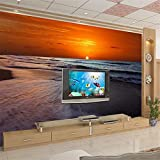 NIZI Fino Decoración Playa Atardecer Atardecer Amanecer Puesta de Sol Cielo Fondo Muro Personalizado 3D Hotel Dormitorio Lado Lateral Papel Tapiz,200 * 140 cm