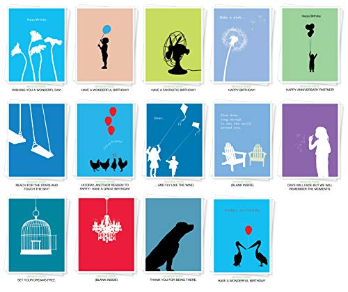 Apartment 2 Cards Grußkarten mit verschiedenen Silhouetten, 14 Stück, inklusive Geburtstag, Dankeschön, Mitbringsel, Inspiration und blanko