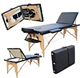 H-ROOT Large Deluxe 3 Section Lightweight Portable Massage Table Couch Bed Plinth Therapy Tatoo Salon Reiki Healing Swedish Massage 15KG (Black) with FREE Carry Bag
