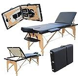 H-ROOT Grande Table de Massage en Trois parties, Canapé lit, Plinthe de Thérapie, Salon, Tatouage, Reiki, Massage Suédois Thérapeutique 15Kg avec Sac de Transport Gratuit (Noir)