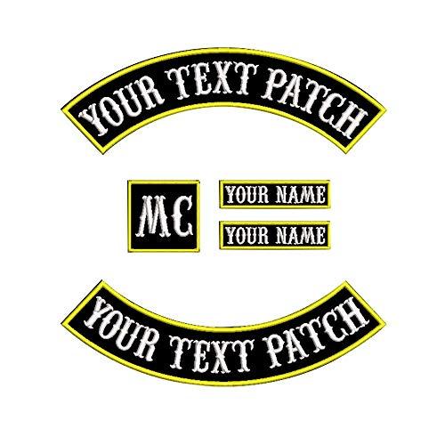 Custom Patch Gilet motard Moto à bascule Correctifs de nom (Jaune sur noir)