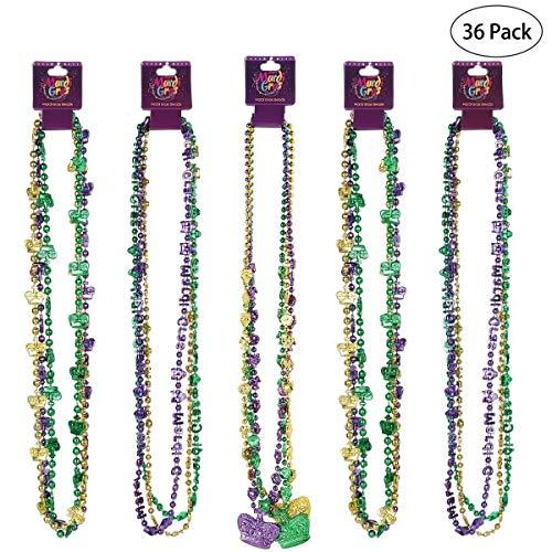 Heylookhere Party-Maske, Party-Geschenk, Karnevals-Perlen, Halskette, Kostüm-Accessoire, Maskenmaske, Krone, Perlen-Halskette, St. Patrick Day Gaysby, Party-Gastgeschenk, 36 Stück