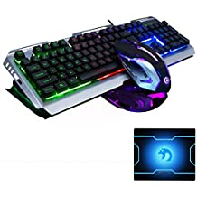FELiCON Gaming Keyboard Mouse Combo Wired LED Retroiluminado Multimedia Usb Juego ergonómico Metal Impermeable + 3200DPI