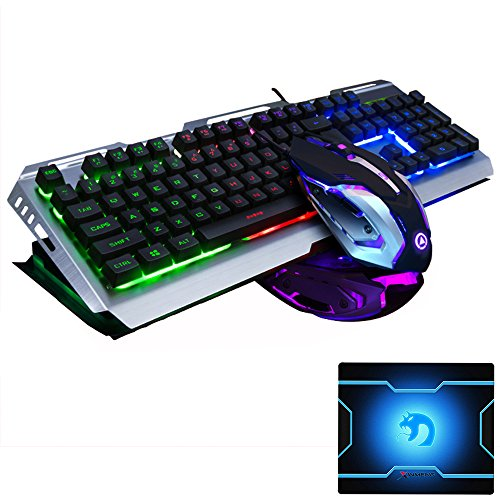 FELiCON Gaming Keyboard Mouse Combo Wired LED Retroiluminado